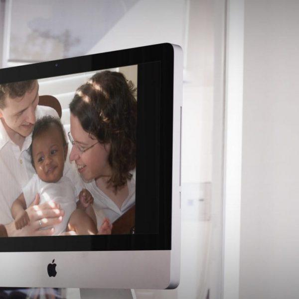 Young woman looking at computer screen