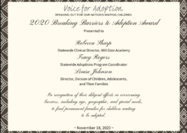 """South Carolina Receives """"Breaking Barriers Adoption Award"""" from Voice for Adoption"""