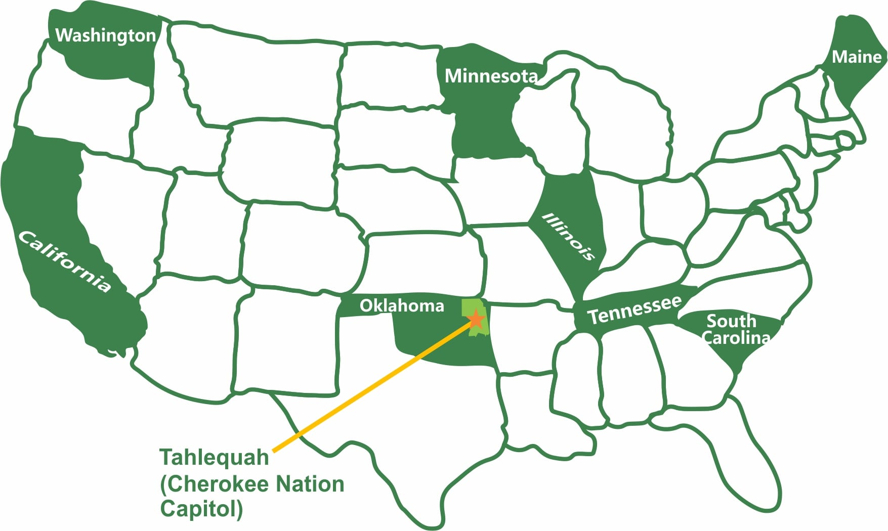 Map Of Pilot States + Cherokee   C.A.S.E.   Nurture, Inspire, Empower