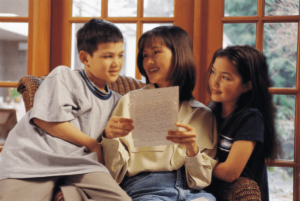 Assess brochure happy mom and kids sharing document