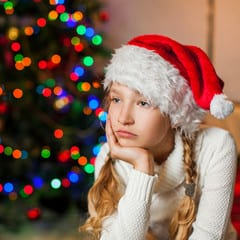 Girl sad at Christmas