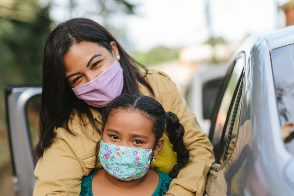 Portrait Of Mother And Daughter Wearing Protective Mask On The Street