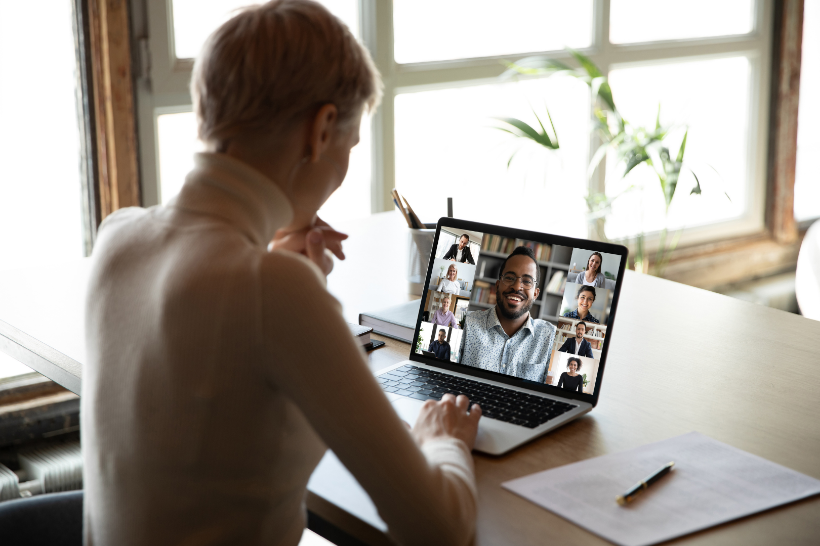 Caucasian women participating in online support group